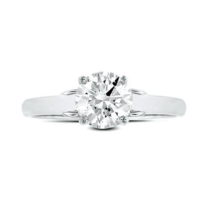 0.64 ct. t.w. Premier Diamond Collection Round Diamond Solitaire Ring + 2 Accent Diamonds in 14k White Gold (E, I1)