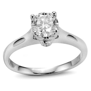 1.05 ct. t.w. Premier Diamond Collection Round Diamond Solitaire Ring + 2 Accent Diamonds in 14k White Gold (H, SI2)