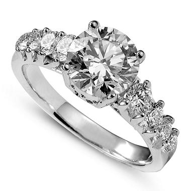 2.02 ct. t.w. Premier Diamond Collection Round Diamond Ring + 8 Accent Diamonds in 14k White Gold (E, SI2)