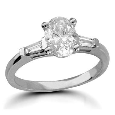 1.21 ct. t.w. Premier Diamond Collection Oval + 2 Baguettes Diamond Ring in 14k White Gold (D, SI2)