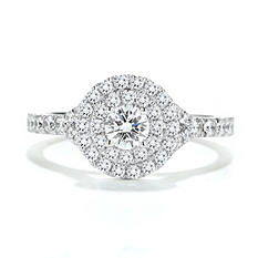 1.00 CT. TW. Premier Diamond Collection Round Halo Ring in 14K White Gold (F, VS) GIA & IGI Certified