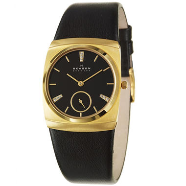 Skagen Women's Modern Yellow Gold Plated Stainless Steel and Leather Quartz Watch
