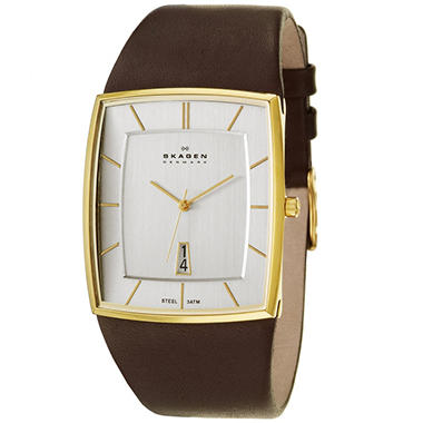 Skagen Men's Classic Yellow Gold Plated Stainless Steel and Leather Quartz Watch