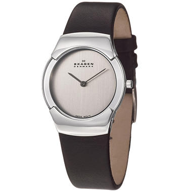 Skagen Women's Swiss Stainless Steel and Leather Quartz Watch