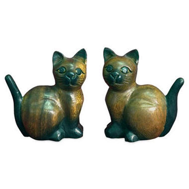 Handmade Carved Mango Wood Cat Figurines - 2 pk.