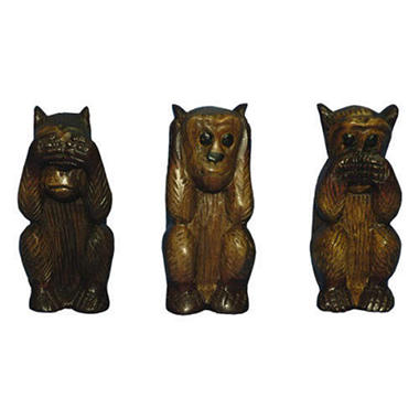 Hear/See/Speak No Evil Mango Wood Monkey Carvings