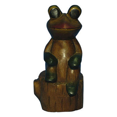 Decorative Painted Wood Frog On Tree Stump Carving