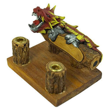 Wooden Double Pen Holder With Painted Fire Dragon