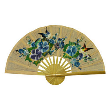 Bird & Flowers Large Decorative Taupe Wall Fan