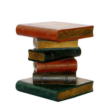 Handmade Painted Book-Stack Style Wood End Table