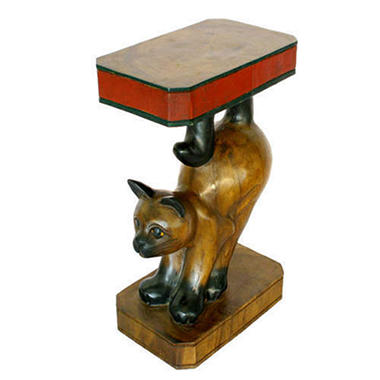 Handmade Carved Wood End Table - Cat Design