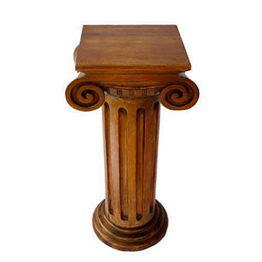 Carved Acacia Wood End Table - Roman Column