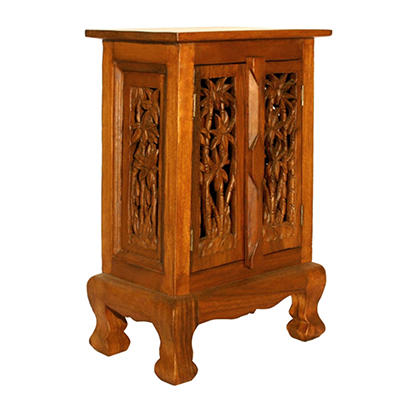 Coconut Palm Storage Cabinet / Nightstand - Natural Finish