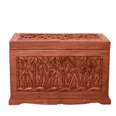 Tropical Palm Tree Design Wood Storage Chest / Coffee Table