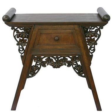 Carved Teak Wood & Rattan End Table - Dark Finish.