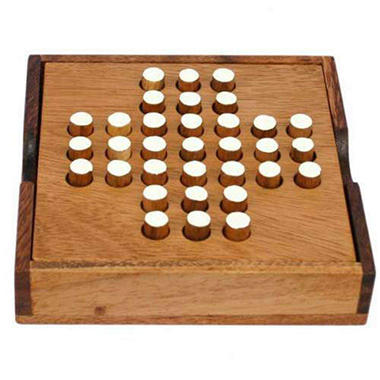 Carved Peg-Jumping Travel Size Wood Solitaire Game