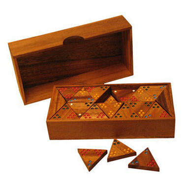 Carved Hand-Painted Wood Tri-Dominoes Game