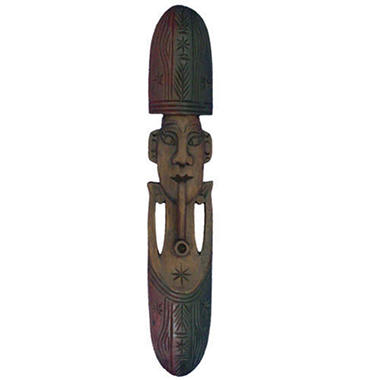 Handmade Carved Man & Pipe Tribal Wall Art Mask