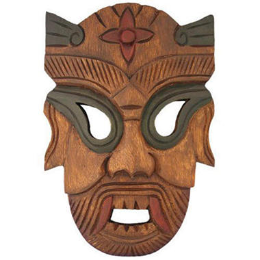 Handmade Carved Warrior Tribal Wall Art Mask