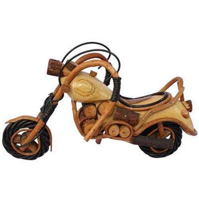 Handmade Model Motorcycle Painted Wood Carving