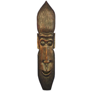 Handmade Carved Brown Monkey Tribal Mask Wall Art
