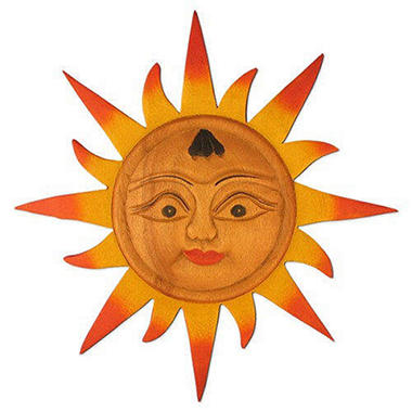 Handcarved Sun Wood Wall Art Hanging