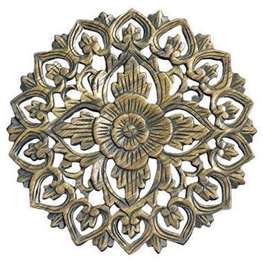 Handmade Round Floral Teak Wood Wall Art - Walnut