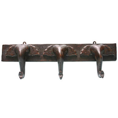 Carved Brown Asian Elephant Wood Hat & Coat Rack