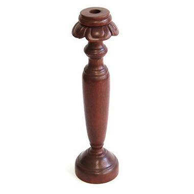 Carved Petal Trim Natural Wood Candleholder