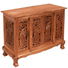 Birds Motif Storage Cabinet / Sideboard - Natural