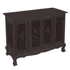 Birds Motif Storage Cabinet / Sideboard - Dark