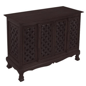 Lattice Design Storage Cabinet/Sideboard - Dark