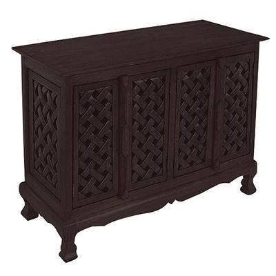 Lattice Design Storage Cabinet/Sideboard - Dark