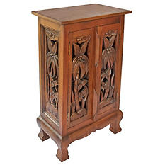 "32"" Hand-Carved Palm Trees Cabinet/Table - Dark"