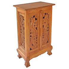 "32"" Hand-Carved Dragon Cabinet/End Table - Natural"
