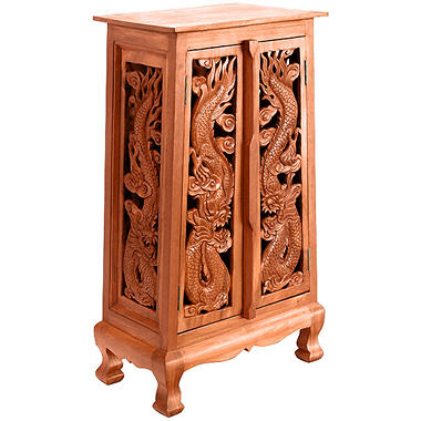 "40"" Hand-Carved Thai Dragon Cabinet - Natural"