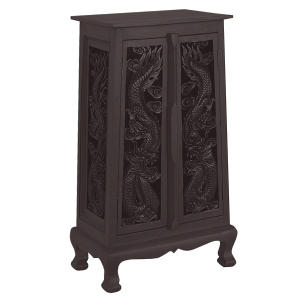 "40"" Hand-Carved Thai Dragon Cabinet - Dark"