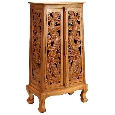 "50"" Hand-Carved Thai Dragon Cabinet - Natural"