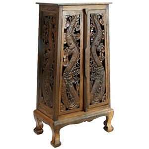 "50"" Hand-Carved Thai Dragon Cabinet - Dark"