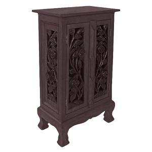 """32"""" Carved Vintage Roses Cabinet/Table - Dark"""