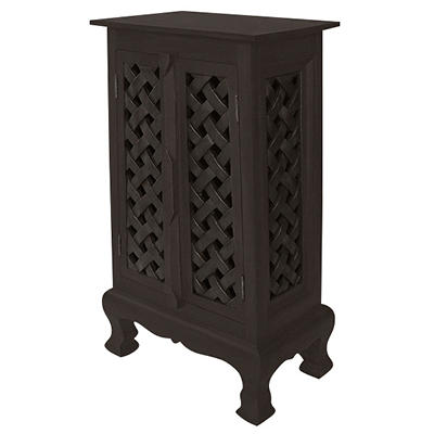 "32"" Hand-Carved Lattice Storage Cabinet - Dark"