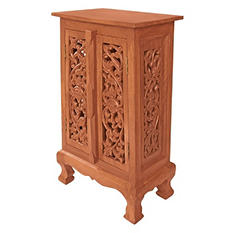 "32"" Hand-Carved Flowers & Vines Cabinet - Natural"