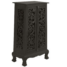 "40"" Hand-Carved Flowers & Vines Cabinet - Dark"