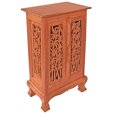 "32"" Carved Bamboo Cabinet / End Table - Natural"