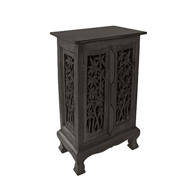 "32"" Carved Bamboo Tree Cabinet/End Table - Dark"