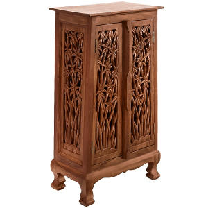 "40"" Hand-Carved Bamboo Storage Cabinet - Natural"