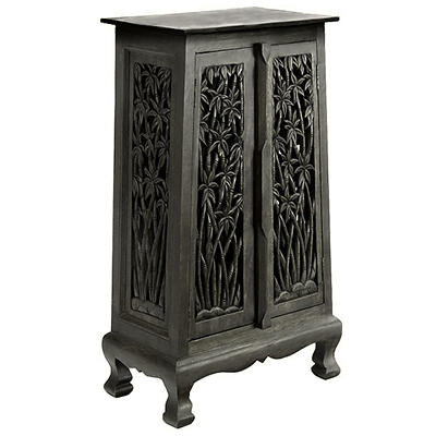 "40"" Hand-Carved Bamboo Storage Cabinet - Dark"