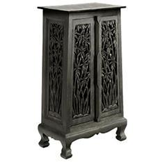 "40"" Hand-Carved Bamboo Storage Cabinet - Dark"