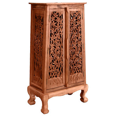 "50"" Hand-Carved Bamboo Storage Cabinet - Natural"