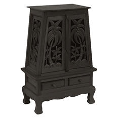Hand-Carved Palm Trees Storage Cabinet - Dark.
